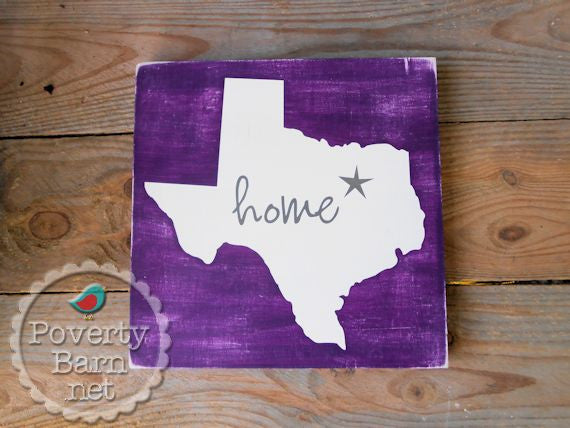 Texas Home Star Hand Painted Wood Box Style Sign -Home State Box Signs -PovertyBarn - 1