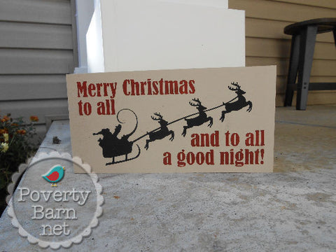 Merry Christmas to all Hand Painted Wood Box Style Sign -Box Style Signs -PovertyBarn - 1