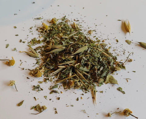 Chill Out Herbal Tea of Milky Oats, Holy Basil, Lemonbalm, Passionflower, Skullcap, Chamomile, and Lavender for Stress, Anxiety, Relaxation, and Sleep