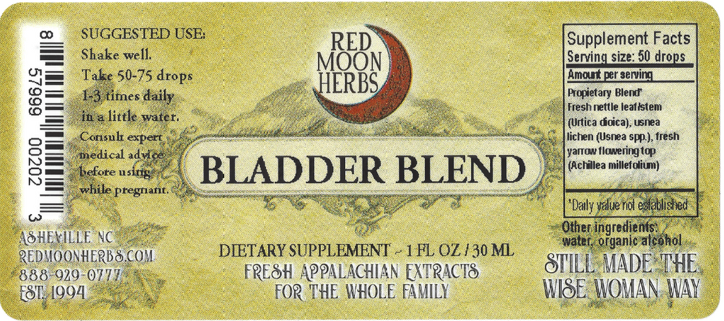Bladder Blend Herbal Extracts of Stinging Nettle, Usnea, and Yarrow Suggested Dosage and Supplement Facts