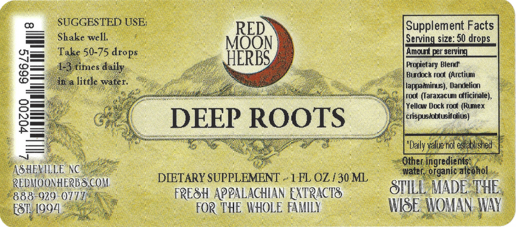 Deep Roots Herbal Extract of Dandelion, Burdock, and Yellow Dock Herbal Extract Suggested Dosage and Supplement Facts