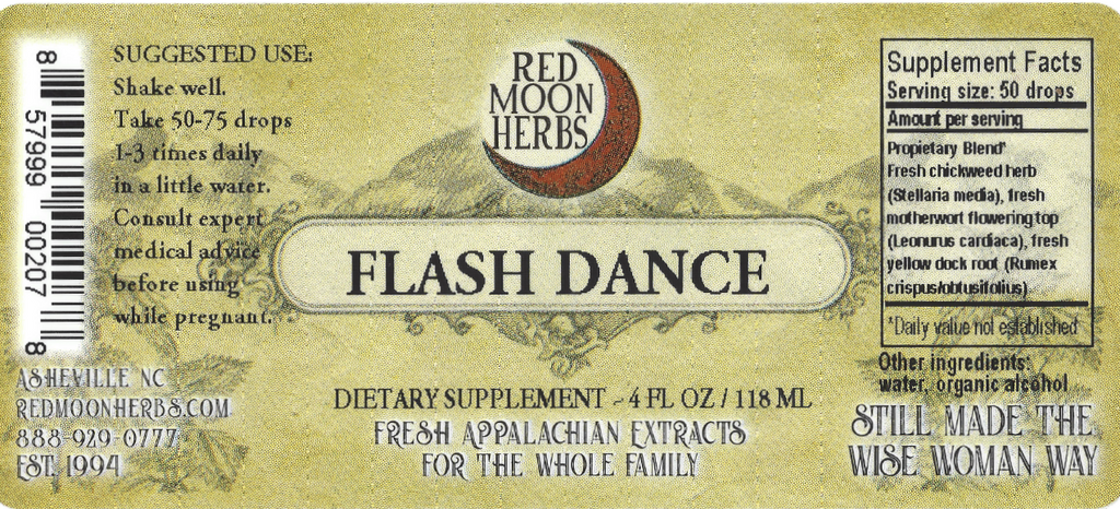Flash Dance Herbal Extract of Chickweed, Motherwort, and Yellow Dock Suggested Dosage and Supplement Facts