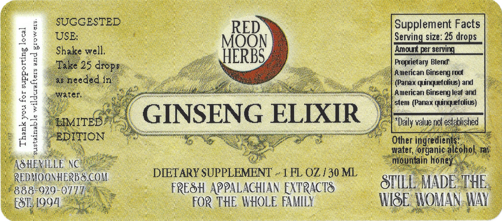 American Ginseng Elixir (Panax quinquefolius) Extract Suggested Dosage and Supplement Facts