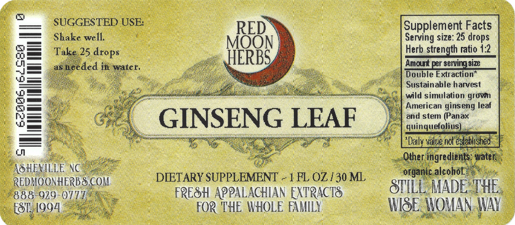 American Ginseng Leaf (Panax quinquefolius) Adaptogen Herbal Extract Suggested Dosage and Supplement Facts