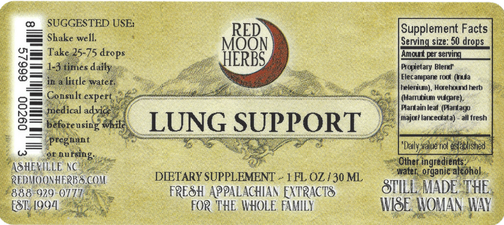 Lung Support Herbal Extract with Elecampane, Horehound, and Plantain Suggested Dosage and Supplement Facts