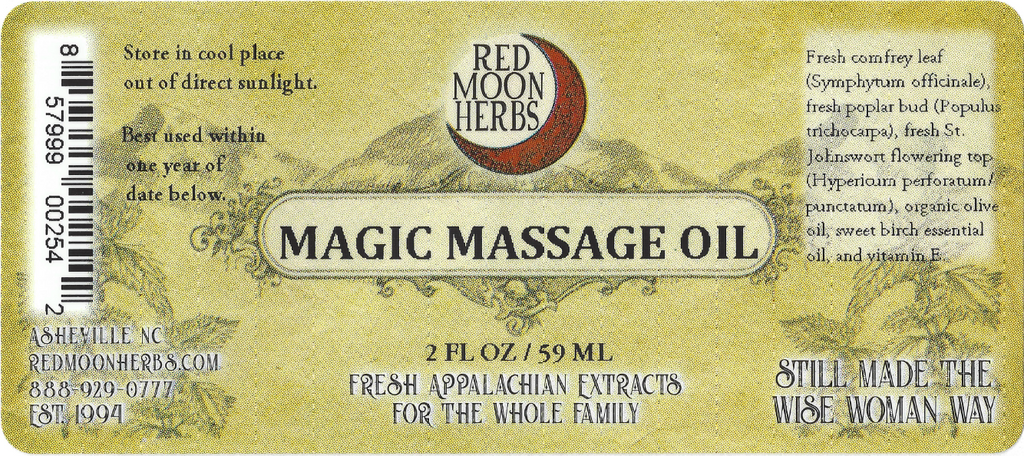 Magic Massage Herbal Oil with Comfrey, Poplar Bud, and St. John's Wort Suggested Uses and Ingredients