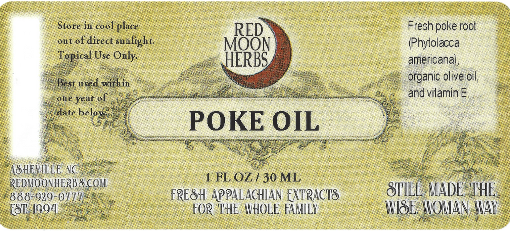 Poke Root (Phytolacca americana) Herbal Infused Oil Suggested Uses and Ingredients