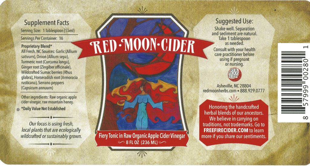 Red Moon Cider Herbal Wellness Vinegar Tonic with Garlic, Ginger, and Turmeric