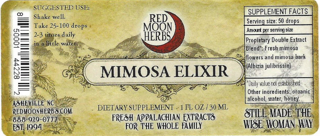 Mimosa Elixir (Albizia julibrissin) Herbal Extract Suggested Dosage and Supplement Facts