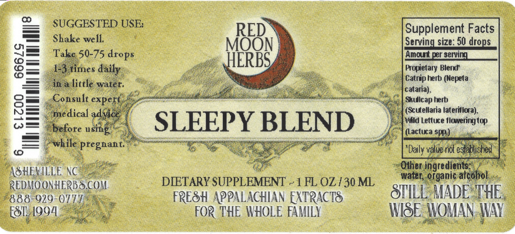 Sleepy Blend Herbal Extract of Catnip, Skullcap, and Wild Lettuce Suggested Dosage and Supplement Facts