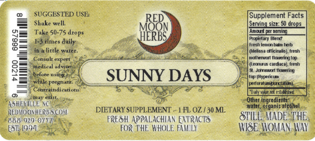 Sunny Days Herbal Extract of Lemon Balm, Motherwort, and St. John's Wort Suggested Dosage and Supplement Facts