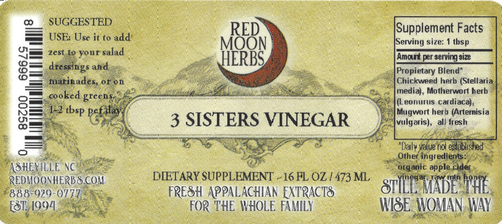 Three Sisters Herbal Vinegar Bottle of Chickweed, Motherwort, and Mugwort Suggested Dosage and Supplement Facts