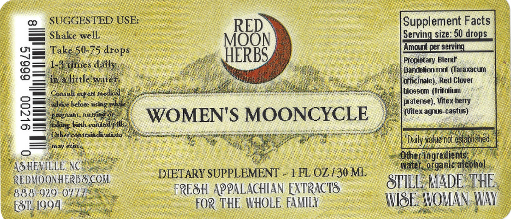 Women's Mooncycle Herbal Extract of Vitex, Dandelion, and Red Clover Suggested Dosage and Supplement Facts