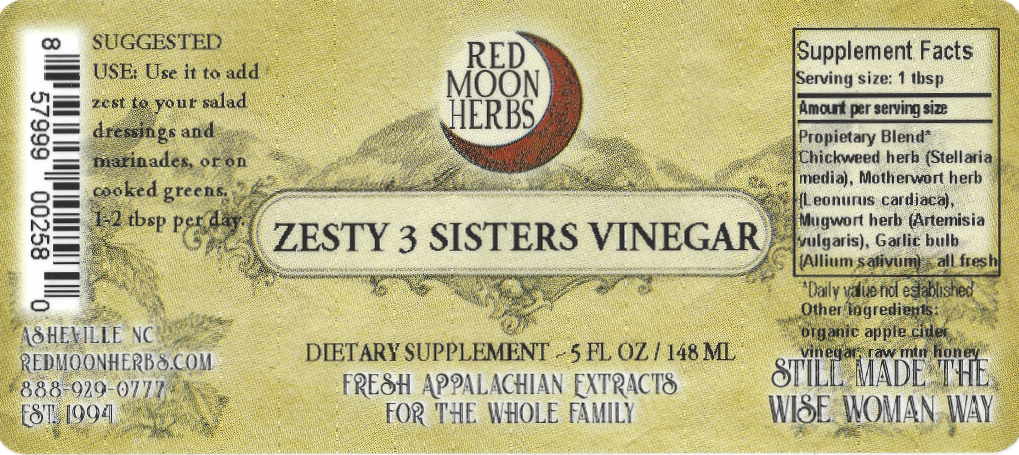 Zesty Three Sisters Herbal Vinegar of Garlic, Chickweed, Motherwort, and Mugwort Suggested Uses and Supplement Facts