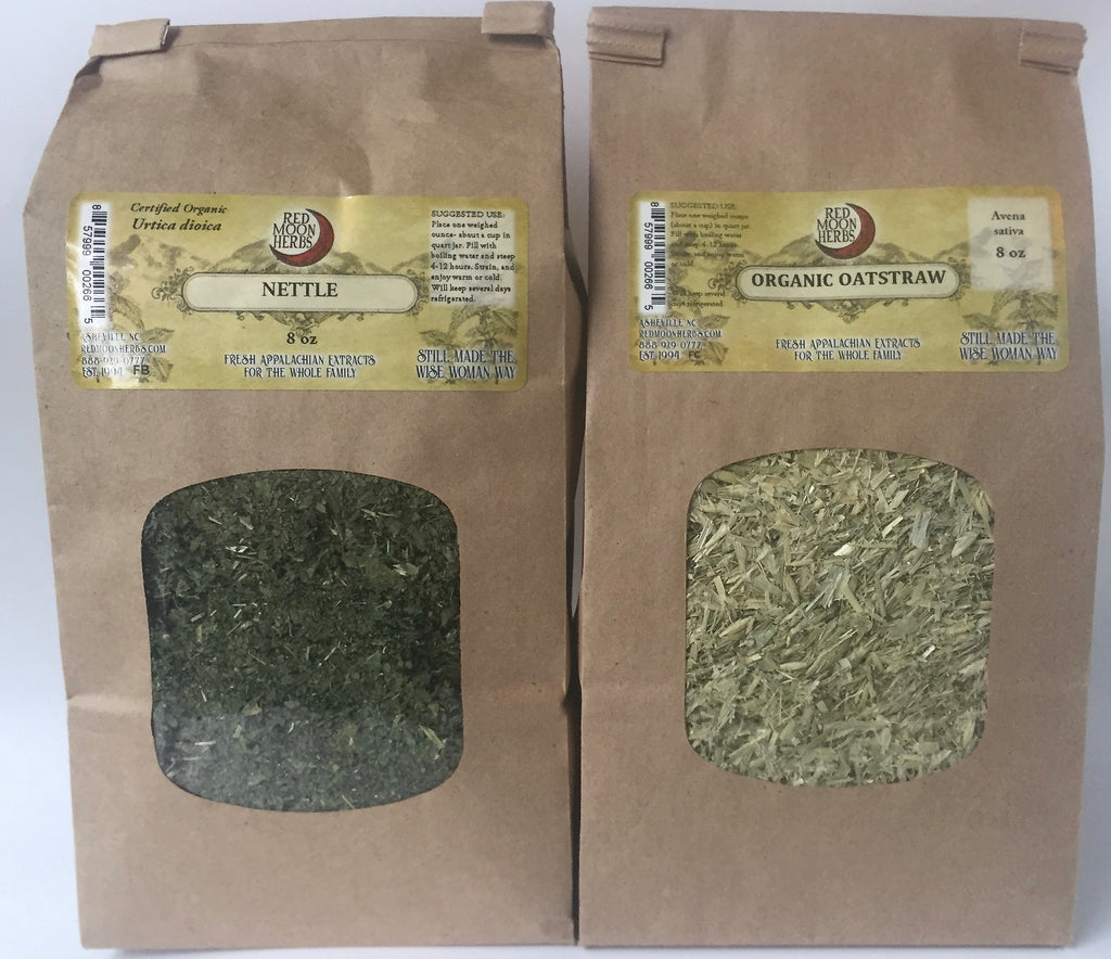 Dried Herb Bundle of Nettle (Urtica dioica) and Oatstraw (Avena sativa) for Nourishing Herbal Infusions and Teas
