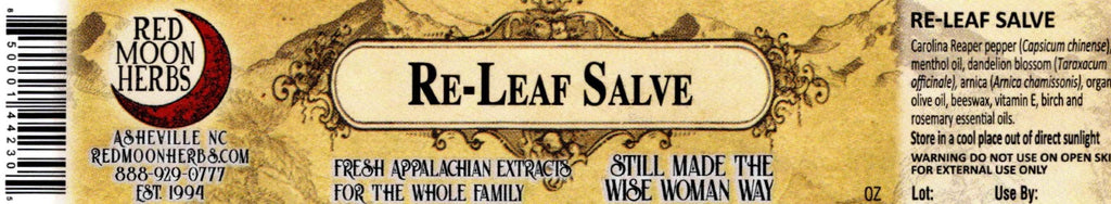 Re-Leaf Herbal Hot Pepper Arnica Pain Salve Ingredients on Label