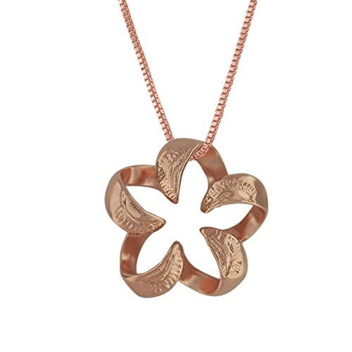 14kt Rose Gold Plated Sterling Silver Engraved Small Open Plumeria Pendant Necklace, 16+2