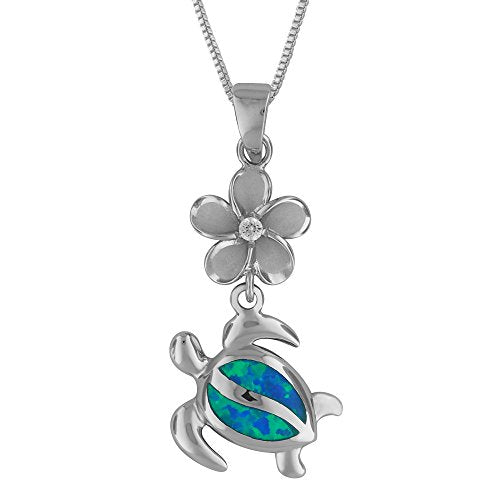 Sterling Silver Synthetic Blue Opal Plumeria Turtle Necklace, 16+2