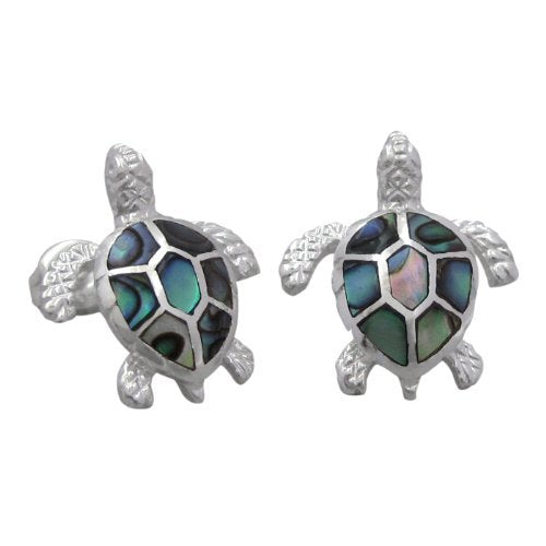 Sterling Silver Abalone Shell Turtle Stud Earrings