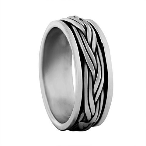 Sterling Silver Braided Spinner Ring