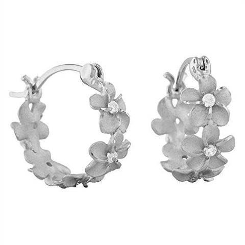 Sterling Silver 7mm Plumeria Hoop Earrings