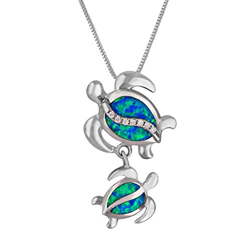 Sterling Silver Synthetic Blue Opal Mother Child Turtle Pendant Necklace