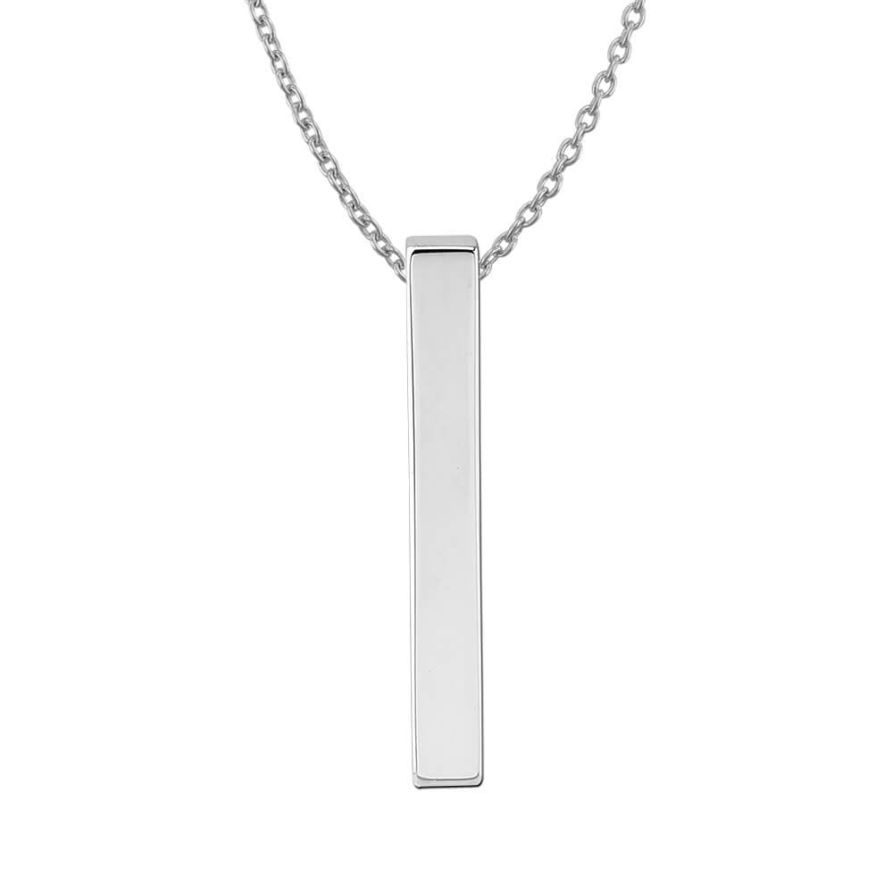 Sterling Silver Plain Vertical Bar Pendant Necklace, 18