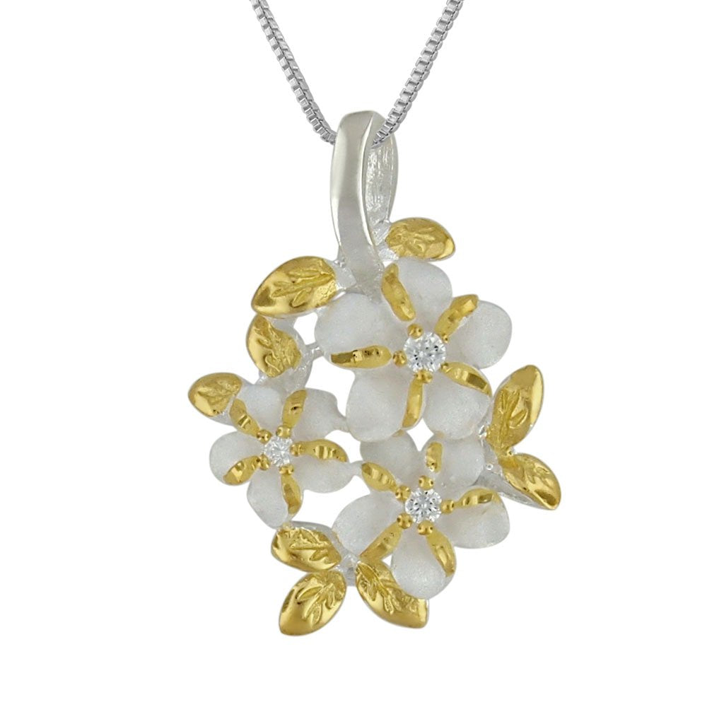 Sterling Silver with Yellow Gold Plated Accents 3 Plumeria Maile Round Pendant Necklace, 16+2