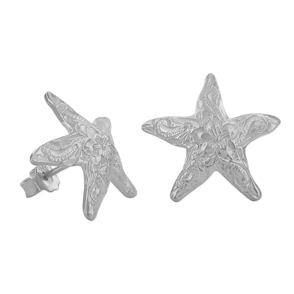 Sterling Silver 15mm Engraved Starfish Earrings