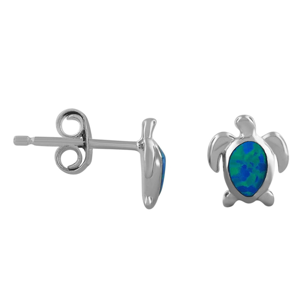Sterling Silver Synthetic Opal Mini XS Turtle Stud Earrings
