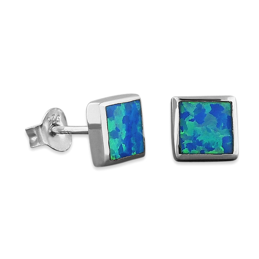 Sterling Silver Synthetic Opal Square Stud Earrings 1/4 Inch