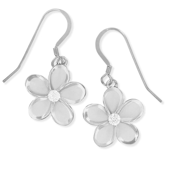 Sterling Silver 15mm Plumeria Dangle Earrings