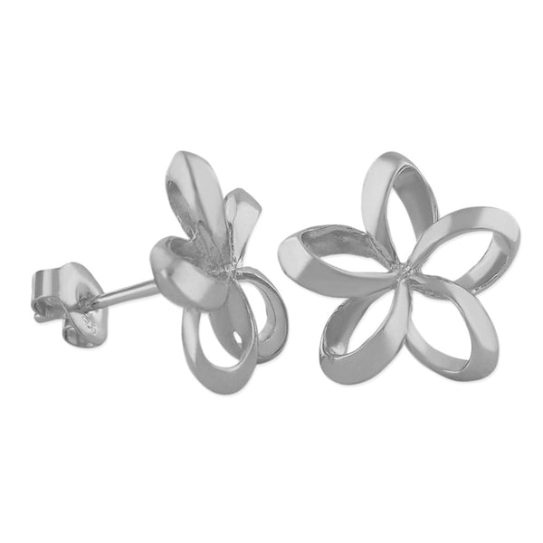 Sterling Silver 1/2 Inch Open Plumeria Stud Earrings