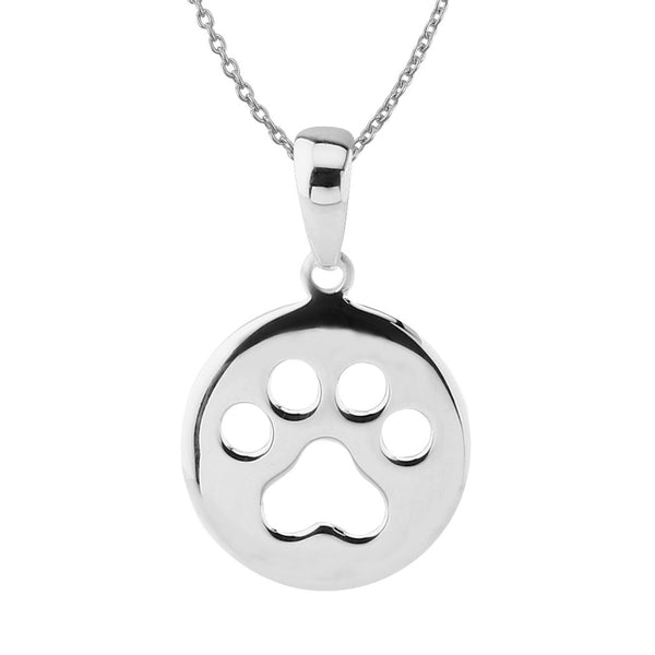 Sterling Silver Small Circle Dog Paw Print Pendant Necklace, 18