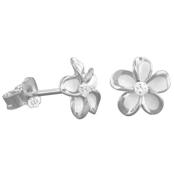Sterling Silver 7mm Plumeria Stud Earrings
