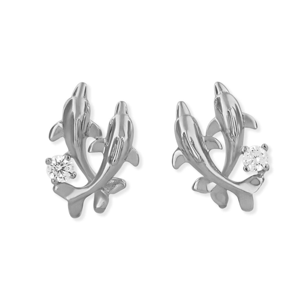 Rhodium Plated Sterling Silver Double Dolphin Stud Earrings