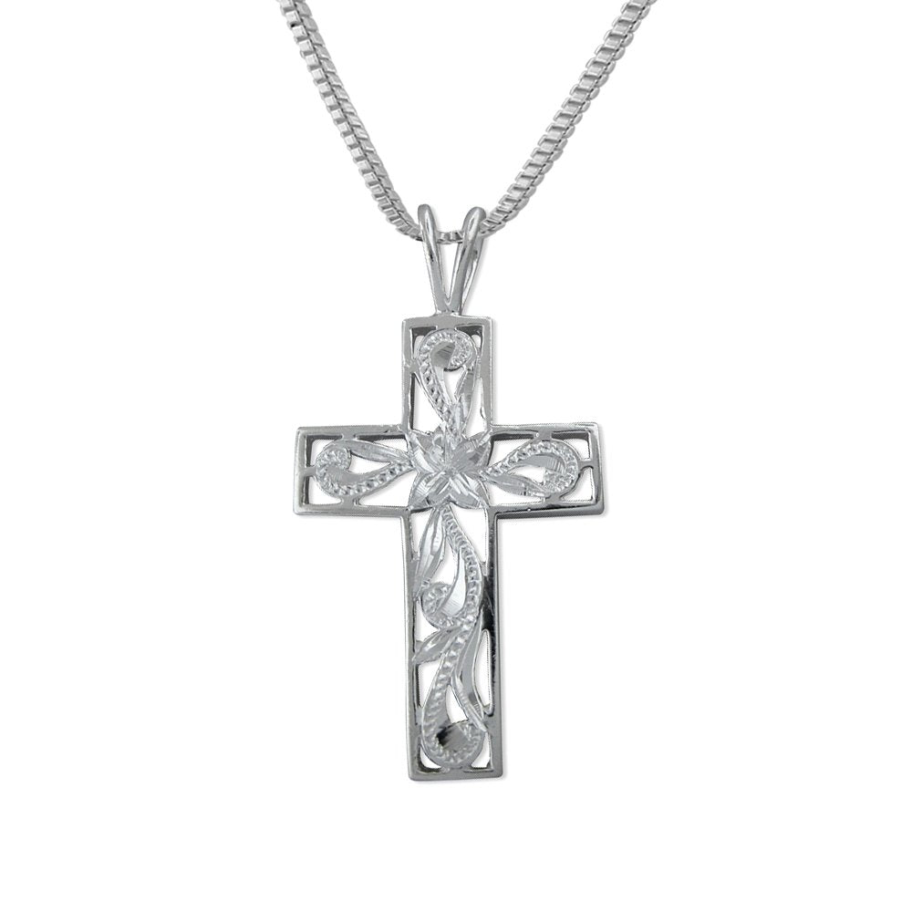 Sterling Silver Filigree Cross Pendant Necklace, 16+2