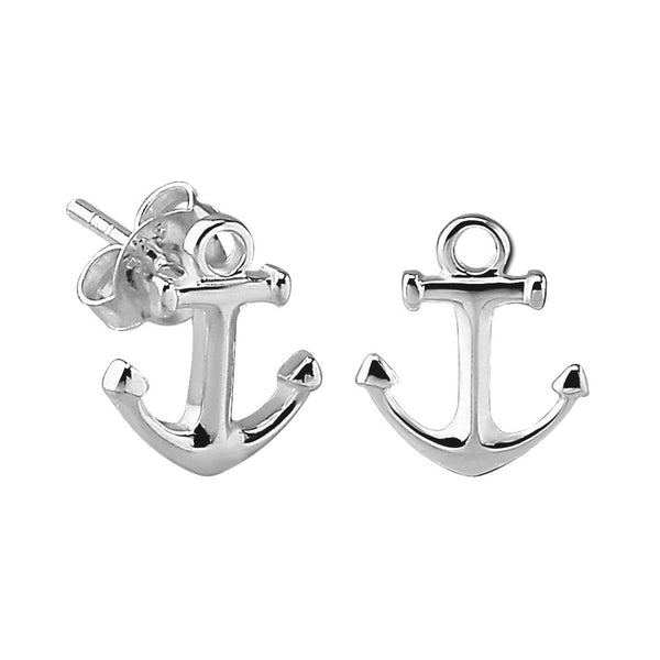 Sterling Silver XS Small Anchor Stud Earrings