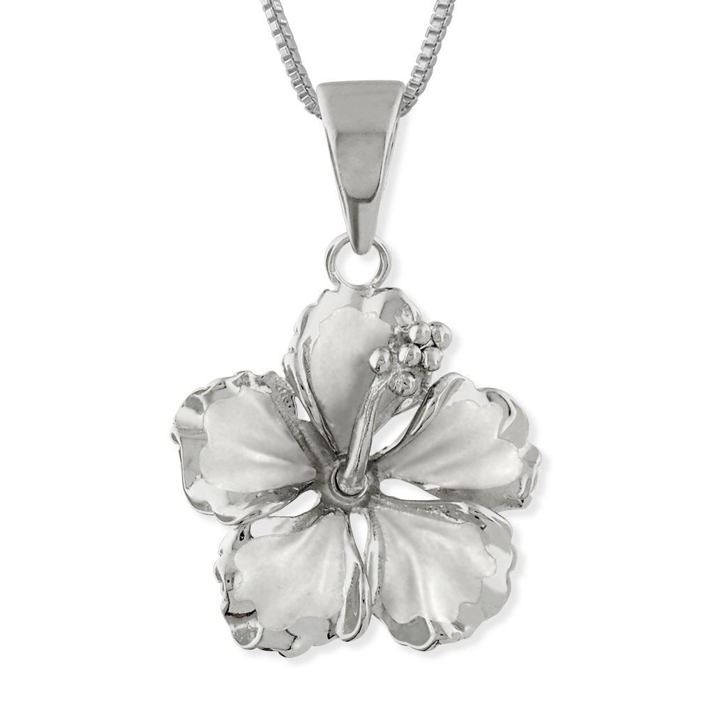 Sterling Silver 17mm Hibiscus Pendant Necklace, 16+2