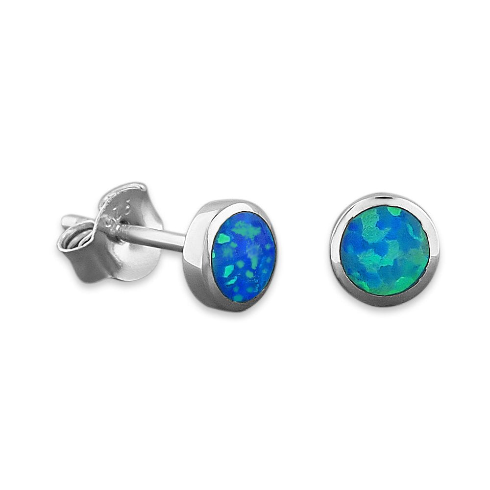 Sterling Silver Synthetic Blue Opal Circle Stud Earrings Mini XS 5mm