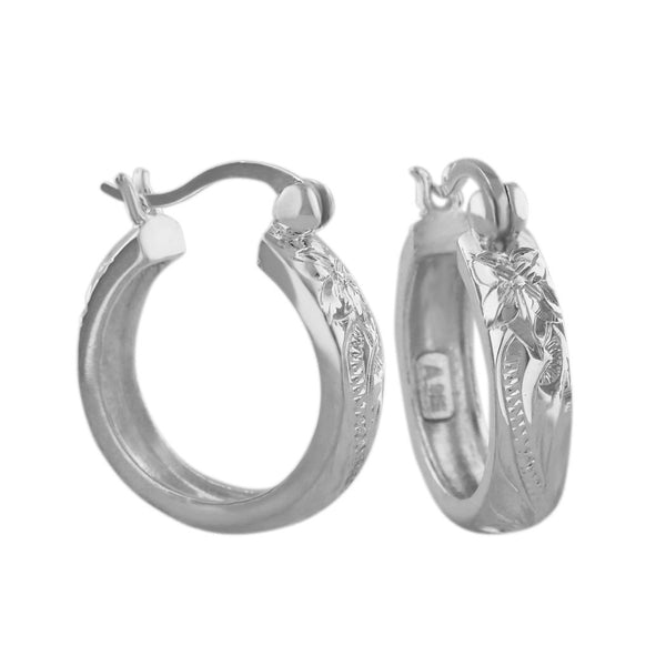 Sterling Silver 11/16 Inch Engraved Hoop Earrings