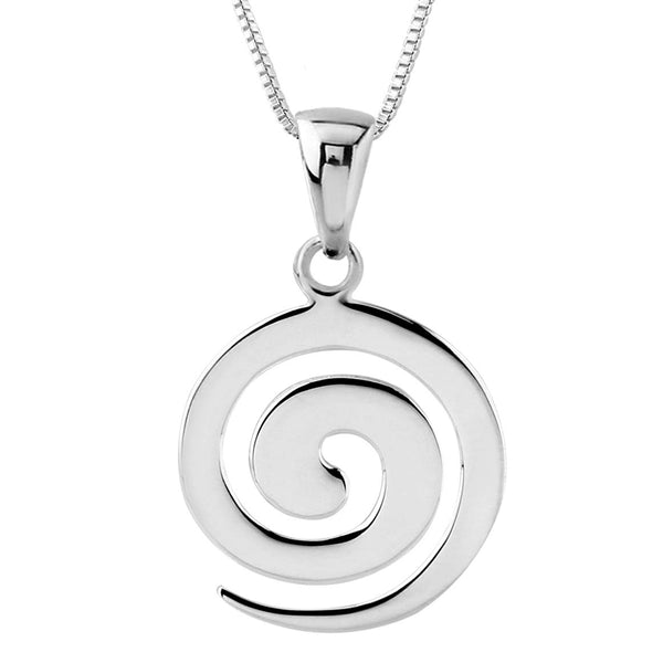 Sterling Silver Spiral Pendant Necklace, 18