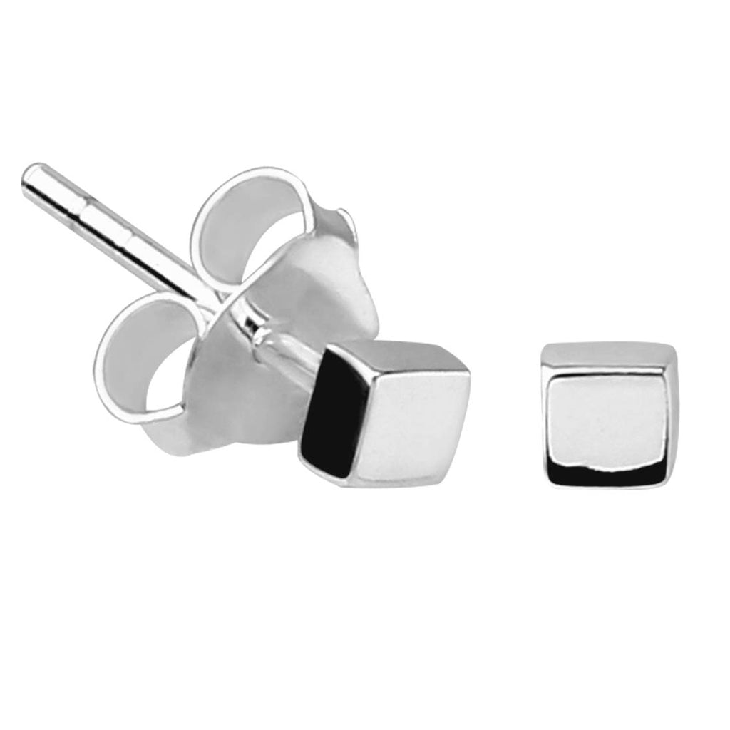 Sterling Silver XS Tiny Square Stud Earrings