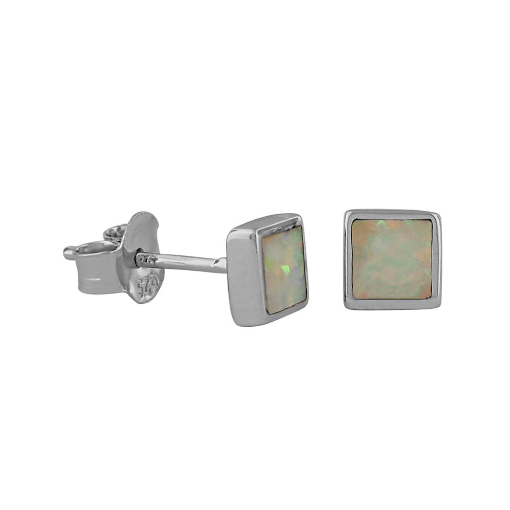 Sterling Silver Synthetic White Opal Square Stud Earrings Mini XS 5mm