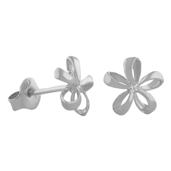 Sterling Silver Small Open Plumeria Stud Earrings