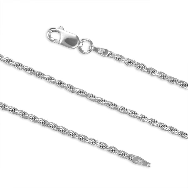 Sterling Silver 1.7mm Diamond-Cut Rope Chain Necklace Solid Italian Nickel-Free, 16-36 Inch