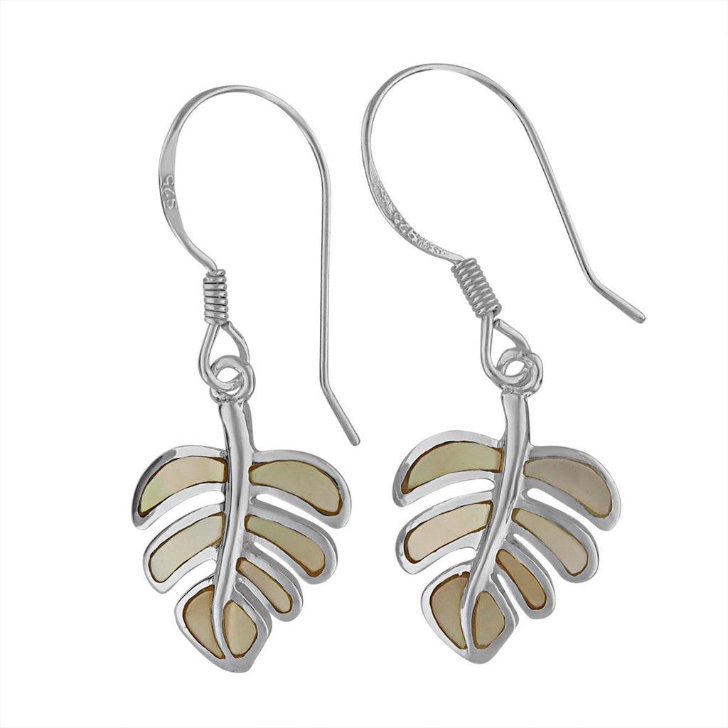 Sterling Silver Mother of Pearl Monstera Dangle Earrings