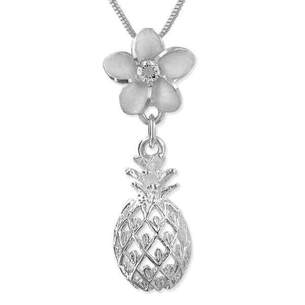 Sterling Silver Plumeria Dangling Pineapple Pendant Necklace, 16+2