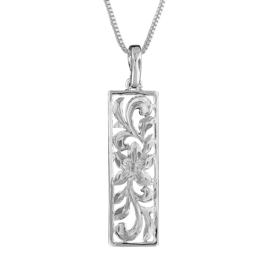 Sterling Silver Vertical Filigree Scroll Bar Pendant Necklace, 16+2
