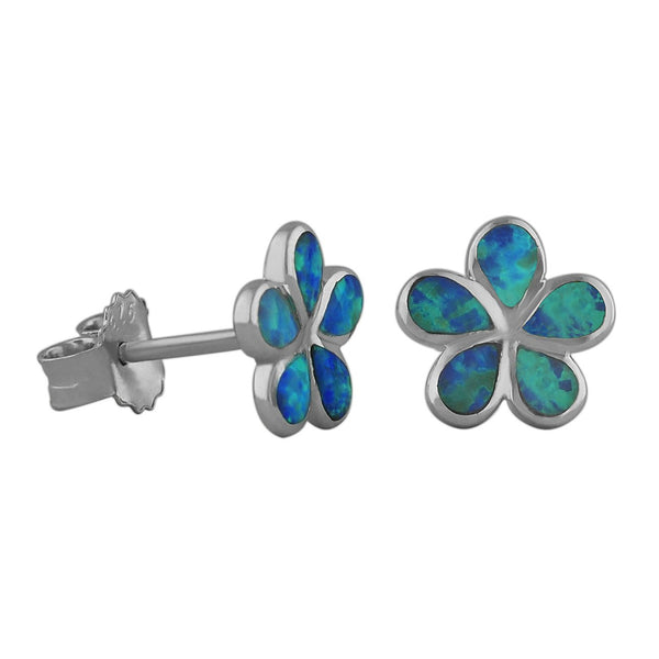 Sterling Silver Synthetic Blue Opal 10mm Plumeria Stud Earrings